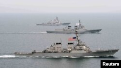 지난 3월 한국 서해에서 실시된 미-한 연합 훈련. (자료사진)