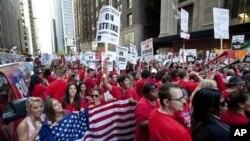 Забастовка учителей в Чикаго, Иллинойс. 10 сентября 2012 года.