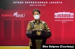 Menkes Budi Gunadi Sadikin usai rapat terbatas di Istana Kepresidenan, Jakarta, Senin (26/4) mengatakan varian baru virus Corona dari India telah ditemukan di Indonesia (biro setpres)