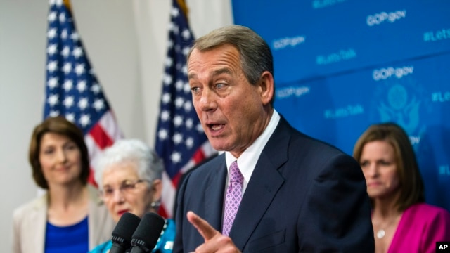 House Speaker John Boehner of Ohio, joined by members of the Republican Caucus, demands that the White House and congressional Democrats negotiate with congressional Republicans, Oct. 4, 2013.