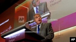 Menhan Amerika Chuck Hagel saat berbicara dalam dialog pertahanan di Singapura hari Sabtu (1/6).