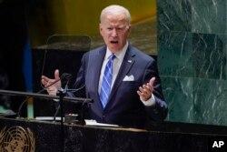 美国总统拜登在联合国大会上发表讲话。(2021年9月21日)