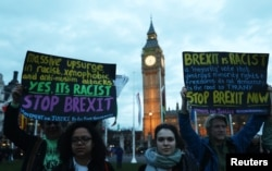 Demonstrators hold placards during a protest in favour of amendments to the Brexit Bill outside the Houses of Parliament, in London, Britain, March 13, 2017.