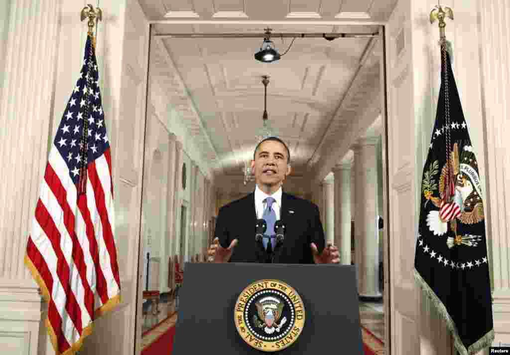 美国总统奥巴马在白宫东厅宣布最高法院对他政府的医改立法的裁决。
