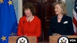 Američka državna tajnica, Hillary Clinton na press konferenciji nakon razgovora sa visokom predstavnicom EU za vanjsku politiku i sigurnost, Catherine Ashton