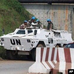 Des Casques bleus de l'ONUCI à Abidjan