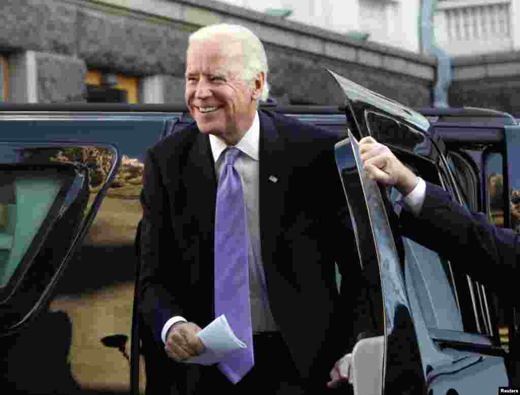 U.S. Vice President Joe Biden arrives for a meeting with Ukraine's President Petro Poroshenko in Kyiv, Nov. 21, 2014.