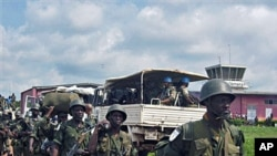 UN Mission in Democratic Republic of Congo and DRC soldiers get ready to deploy from Gemena (file photo)