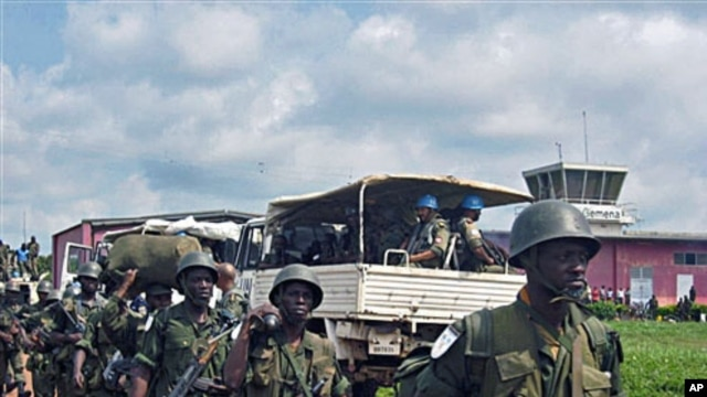 UN Mission in Democratic Republic of Congo and DRC soldiers get ready to deploy from Gemena.