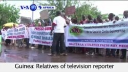 VOA60 Africa 08-06-Guinea: Relatives of television reporter Cherif Diallo who has been missing since July 23rd, march.
