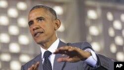 Tổng thống Obama phát biểu tại hội trường trường đại học West Indies, 9/4/2015, ở thủ đô Kingston, Jamaica.