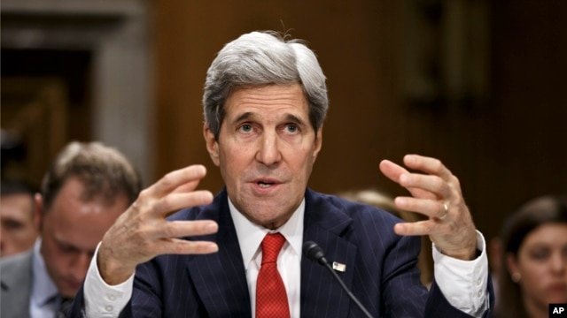 Secretary of State John Kerry testifies on Capitol Hill in Washington April 8, 2014.