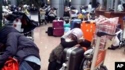 ژمارهیهک هاوڵاتی بیانی له فڕۆکهخانهی قاهیره چاوهڕێی فڕۆکهیهک دهکهن له میسر دهریان بکات، شهممه 29 ی یهکی 2011