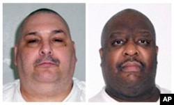 FILE - A combination of undated photos provided by the Arkansas Department of Correction shows death-row inmates Jack Jones, left, and Marcel Williams. The two were put to death in a rare double execution Monday night.