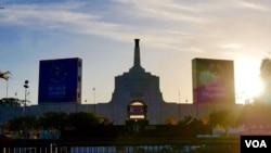 洛杉矶的纪念体育场是1984年奥运会主场(美国之音国符拍摄)