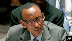FILE- Rwandan President Paul Kagame speaks during a United Nations Security Council meeting at U.N. headquarters in New York, Sept. 24, 2014.