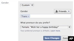 A screen shot released by Facebook shows the new gender option screen, which gives users about 50 different terms to identify their gender, Feb. 13, 2014.