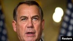 Ketua Kongres AS John Boehner mengecam kebijakan presiden Obama mengenai imigrasi dalam sebuah statemennya di Capitol Hill, Washington, 21/11/2014.