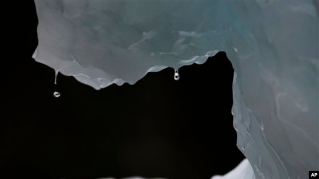 In this July 26, 2011 photo, drops of water fall from a melting iceberg near Nuuk, Greenland. Greenland is the focus of many researchers trying to determine how much its melting ice may raise sea levels. (AP Photo/Brennan Linsley)
