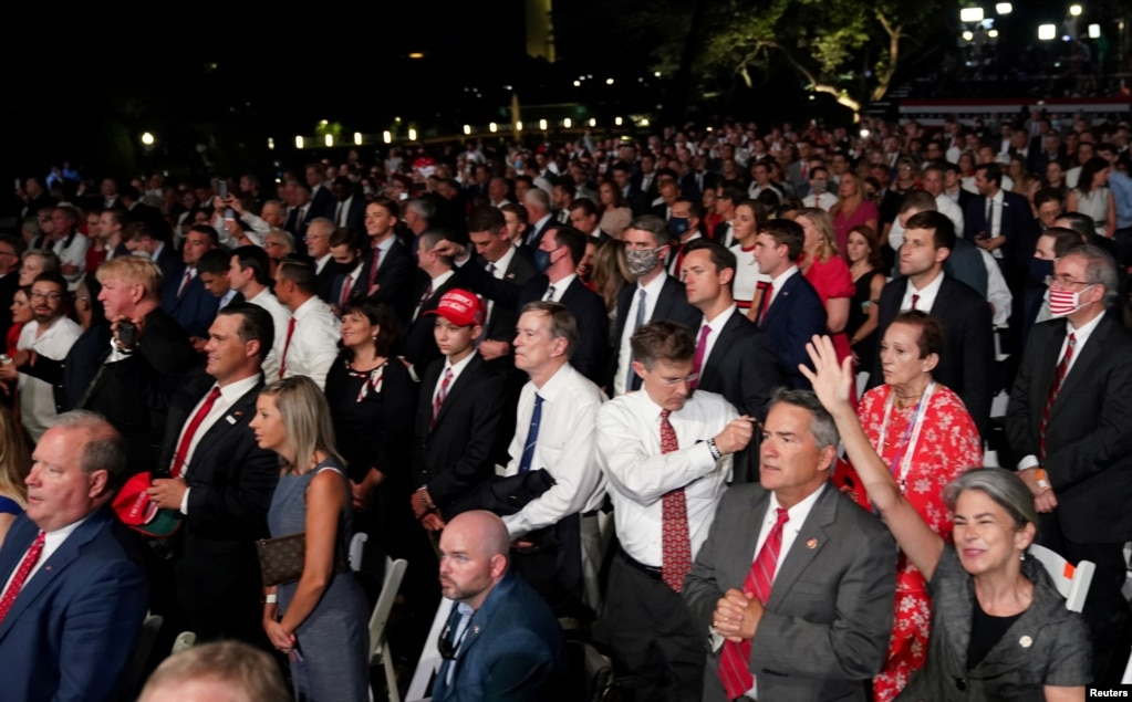 A crowd of supporters of U.S. President Donald Trump's re-election campaign expected to number more than 1500 people pack the South Lawn of the White House to attend the president's acceptance speech as the 2020 Republican presidential nominee