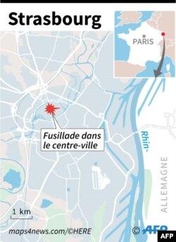 Localisation du centre-ville de Strasbourg, cible d'une fusillade mardi soir