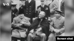 Лидеры Великобритании, США и СССР на Ялтинской конференции союзных держав 4-11 февраля 1945 года