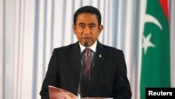 Le président des Maldives Abdulla Yameen pendant sa prestation de serment devant le Parlement à Male, le 17 novembre 2013.