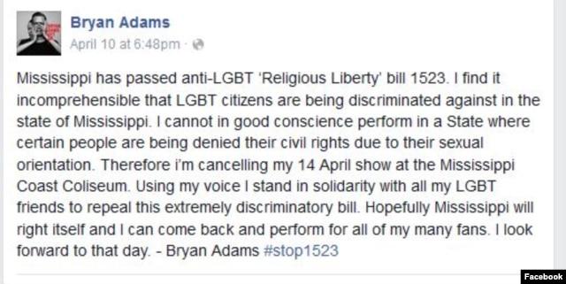 A screenshot from Bryan Adams' Facebook page, April 10, 2016.
