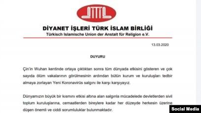 Diyanet İşleri Türk İslam Birliği açıklaması