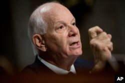 FILE - Sen. Ben Cardin, D-Md. is seen during a Senate Foreign Relations Committee hearing on Capitol Hill.