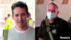 澳广驻京记者比尔·博图斯 (右)与澳大利亚金融评论驻沪记者迈克·史密斯在悉尼对媒体讲话。(2020年9月8日)