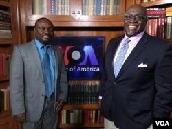 Ambassador Harry Thomas and VOA Zimbabwe Service's Blessing Zulu.