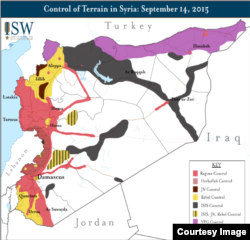 The Assad regime controls only those areas of Syria marked in red, as of Sept. 14, 2015, in this map from the Institute for the Study of War.