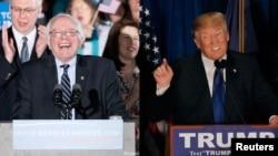 民主党总统候选人桑德斯(左)和共和党总统候选人川普(右)