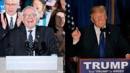桑德斯(左)、川普分别在新罕布什尔州赢得本党初选