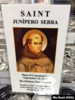 A holy card for Junipero Serra, the Franciscan friar who is to be canonized by Pope Francis at the Basilica of the National Shrine of the Immaculate Conception in Washington, Sept. 23, 2015.