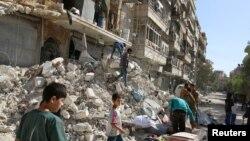 تصویری از بمباران حلب در روز یکشنبه