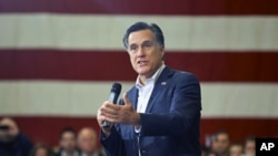 Republican presidential candidate and former Massachusetts Governor Mitt Romney speaks during a campaign stop in Youngstown, Ohio, March 5, 2012.