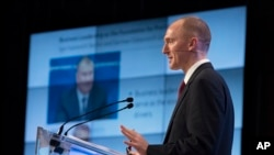 Carter Page, a former foreign policy adviser of U.S. President Donald Trump, speaks at a news conference at RIA Novosti news agency in Moscow, Russia, Dec. 12, 2016.