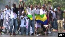 Manifestants à Libreville au Gabon.