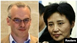 A combination of two photographs shows British businessman Neil Heywood (L) at an Aston Martin dealership in Beijing, May 26, 2010, and Gu Kailai, wife of China's former Chongqing Municipality Communist Party Secretary Bo Xilai