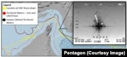 """Putanja američkog drona za osmatranje """"Global houk"""" iznad Hormuškog moreuza."""