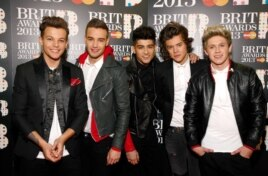 One Direction seen backstage during the BRIT Awards 2013 at the o2 Arena, Feb. 20, 2013, in London.
