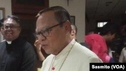 Uskup KAJ Ignatius Kardinal Suharyo di Gereja Katedral, Jakarta, 25 Desember 2019. (Foto: Sasmito)