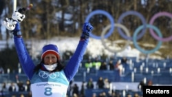 Một vận động viên Na Uy giành huy chương vàng tại Thế Vận Hội Mùa Đông Pyeongchang hồi năm 2018.
