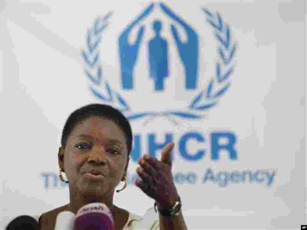 Valerie Amos, Under-Secretary General for Humanitarian Affairs and Emergency Relief Coordinator of the United Nations, speaks during a press conference, after she tours Zaatari Syrian Refugee Camp in Mafraq, Jordan, Tuesday, Nov. 27, 2012. (AP Photo/Mohammad Hannon)