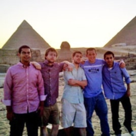 One team of LearnServeEgypt Program participants touring the Egyptian pyramids