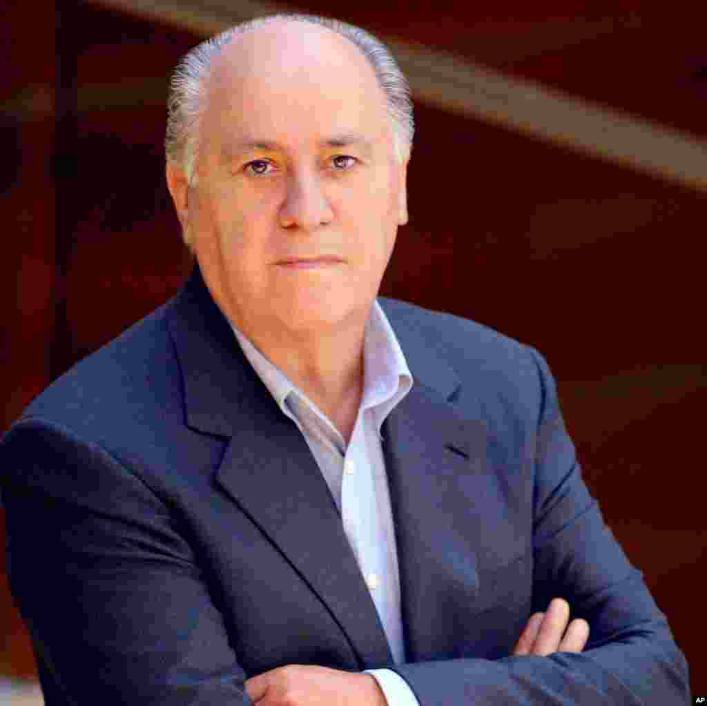 Miliarder Spanyol Amancio Ortega, usia 76, nilai kekayaan bersih $57 miliar. Ia memimpin grup Inditex, dikenal terutama karena merek produk mode Zara.
