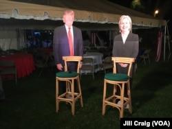 Cardboard cutouts of both candidates on display during a breakfast at the home of U.S. ambassador in Nairobi, Kenya.