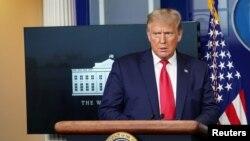 Tổng thống Hoa Kỳ Donald Trump tại cuộc họp báo ở Nhà Trắng vào ngày 10/9/2020.